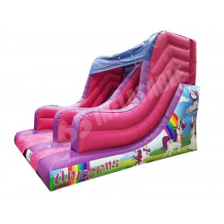 7ft Platform Unicorns Inflatable Slide