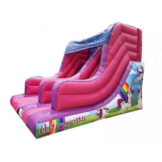 7ft Platform Unicorns Inflatable Slide